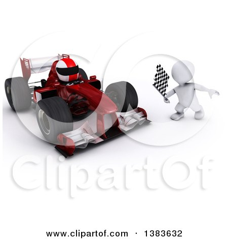 Clipart of a 3d White Man Holding a Racing Flag by a Forumula One Race Car, on a White Background - Royalty Free Illustration by KJ Pargeter