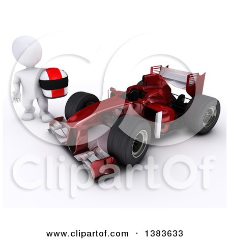 Clipart of a 3d White Man Driver Holding a Helmet by a Forumula One Race Car, on a White Background - Royalty Free Illustration by KJ Pargeter