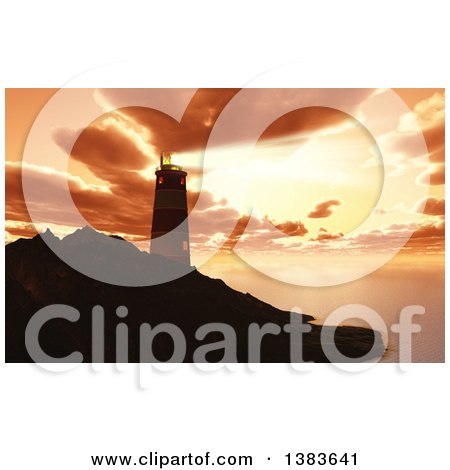 Clipart of a 3d Lighthouse on a Bluff, Shining a Beam out Against a Sunset Sky - Royalty Free Illustration by KJ Pargeter