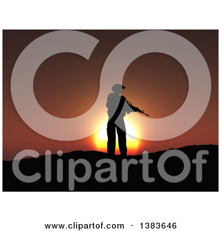 Clipart of a 3d Silhouetted Soldier with a Rifle in Hand, Against a Sunset - Royalty Free Illustration by KJ Pargeter