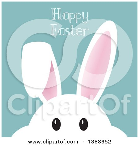 Clipart of a White Bunny Rabbit Face Peeking Under Happy Easter Text - Royalty Free Vector Illustration by KJ Pargeter