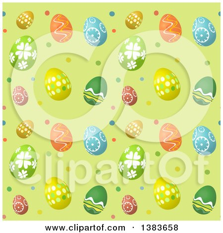 Clipart of a Seamless Background Pattern of Easter Eggs on Green with Polka Dots - Royalty Free Vector Illustration by KJ Pargeter