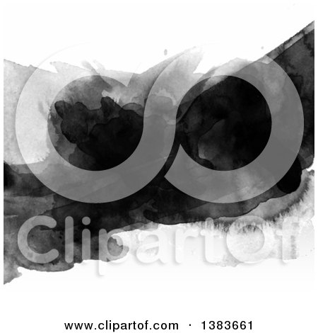 Clipart of a Background of Black Watercolor on White - Royalty Free Vector Illustration by KJ Pargeter
