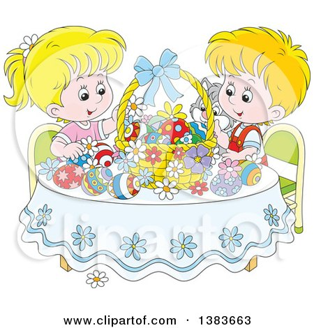 Clipart of Blond White Children and a Cat Admiring Easter Eggs and a Basket at a Table - Royalty Free Vector Illustration by Alex Bannykh