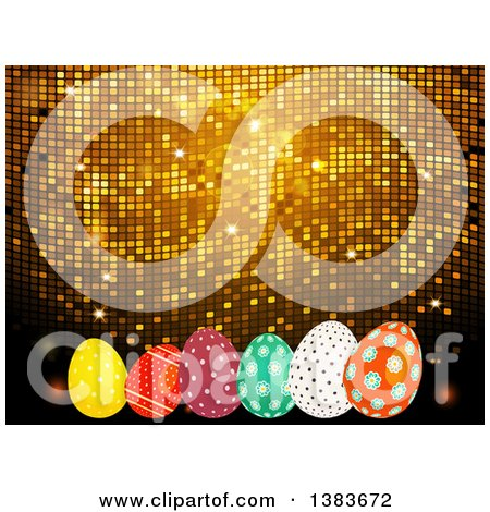 Clipart of a 3d Golden Mosaic Background with Easter Eggs - Royalty Free Vector Illustration by elaineitalia