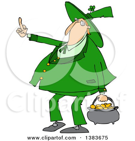 Clipart of a Cartoon Chubby St Patricks Day Leprechaun Carrying a Pot of Gold and Flipping the Bird with His Middle Finger - Royalty Free Vector Illustration by djart