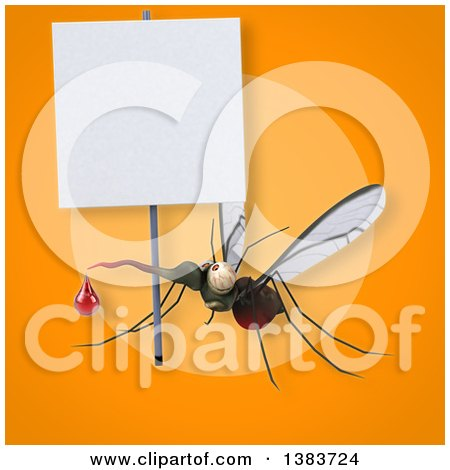 Clipart of a 3d Mosquito, on an Orange Background - Royalty Free Illustration by Julos