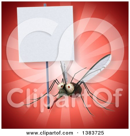 Clipart of a 3d Mosquito, on a Red Background - Royalty Free Illustration by Julos