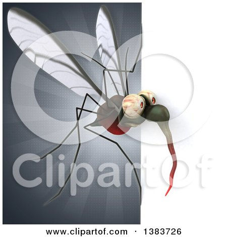 Clipart of a 3d Mosquito, on a Gray Background - Royalty Free Illustration by Julos