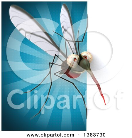 Clipart of a 3d Mosquito, on a Blue Background - Royalty Free Illustration by Julos