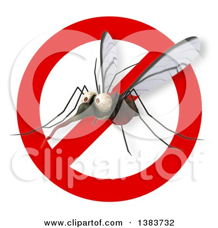 Clipart of a 3d Mosquito, on a White Background - Royalty Free Illustration by Julos