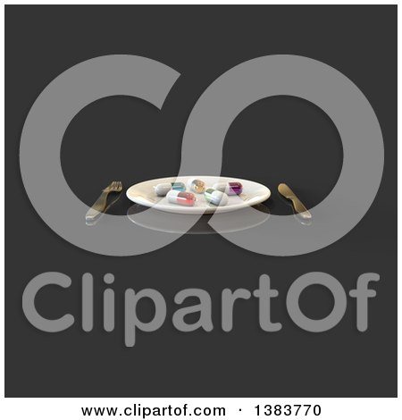 Clipart of a 3d Plate with Diet Pills and Silverware on a Dark Gray Background - Royalty Free Illustration by Julos