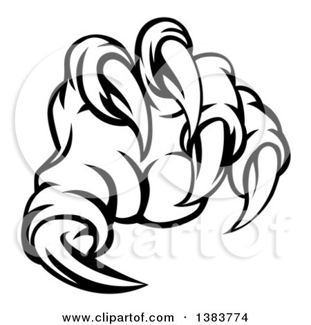 Clipart of Black and White Monster Claw with Sharp Talons - Royalty Free Vector Illustration by AtStockIllustration