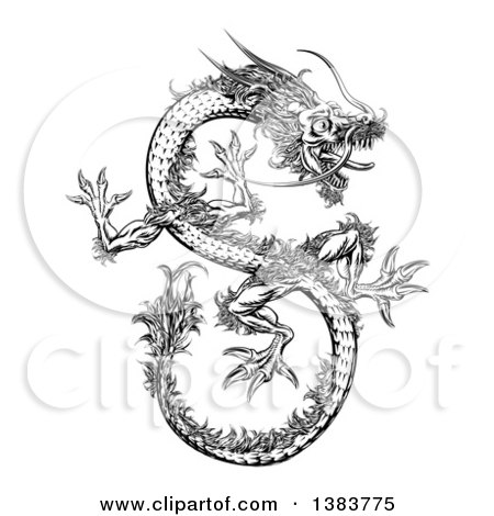 Clipart of a Black and White Chinese Dragon Flying - Royalty Free Vector Illustration by AtStockIllustration