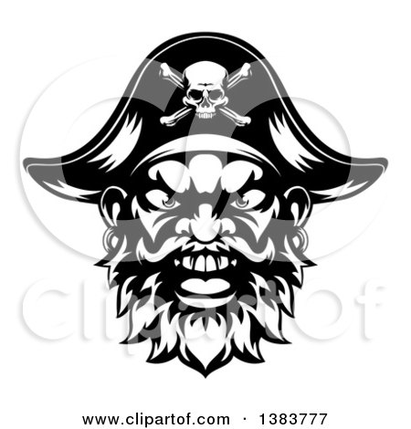 Clipart of a Black and White Pirate Mascot Face with an Eye Patch and Captain Hat - Royalty Free Vector Illustration by AtStockIllustration