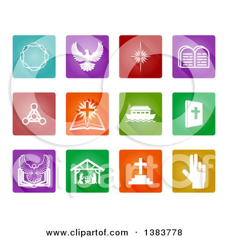 Clipart of White Christian Icons on Colorful Square Tiles - Royalty Free Vector Illustration by AtStockIllustration