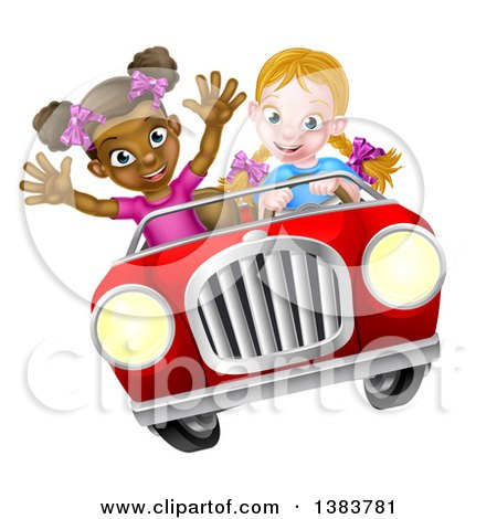 Clipart of a Happy Blond White Girl Driving a Red Convertible Car with a Black Girl in the Passenger Seat - Royalty Free Vector Illustration by AtStockIllustration