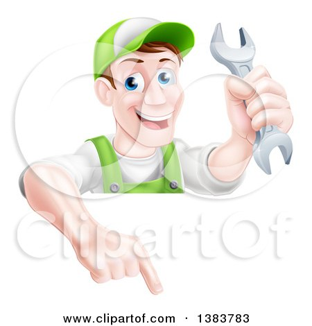 Happy Middle Aged Brunette Caucasian Mechanic Man in Green, Wearing a Baseball Cap, Holding a Wrench and Pointing down over a Sign Posters, Art Prints