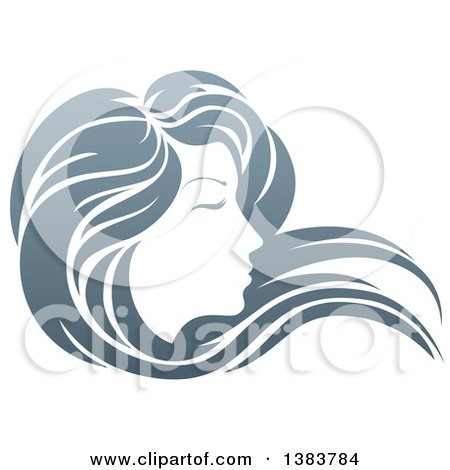 Clipart of a Gradient Beatiful Woman's Face in Profile, with Long Hair Waving in the Wind - Royalty Free Vector Illustration by AtStockIllustration