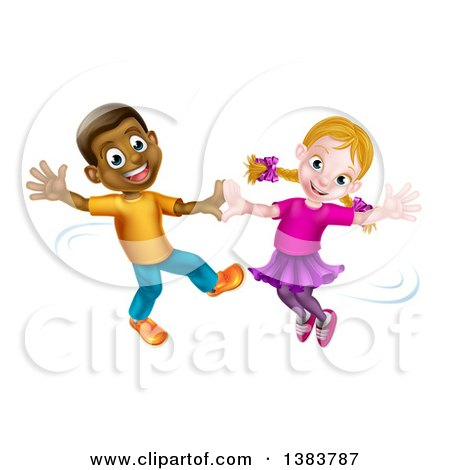 Clipart Of A Happy Black Boy And White Girl Dancing Royalty Free Vector Illustration