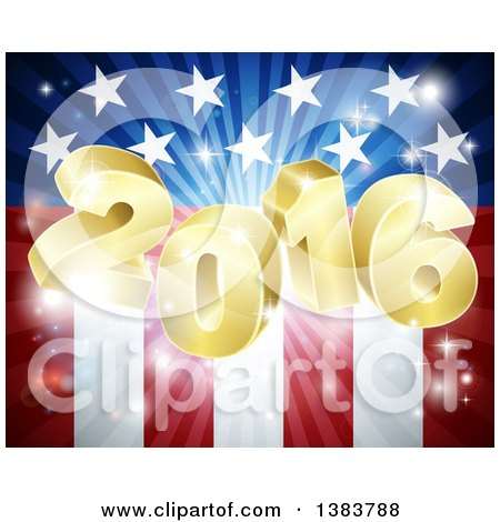 Clipart of a 3d Golden 2016 Burst over an American Flag and Fireworks - Royalty Free Vector Illustration by AtStockIllustration