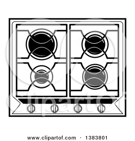 stove clipart black and white. clipart of a black and white kitchen stove hob cook top royalty free vector illustration by frisko e