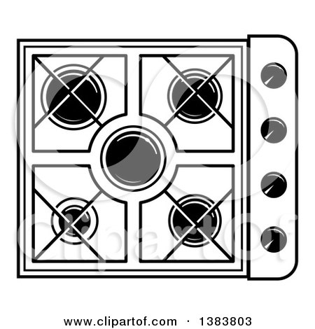 stove clipart black and white. clipart of a black and white kitchen stove hob cook top royalty free vector illustration by frisko
