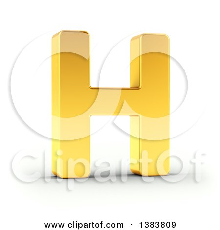 Clipart of a 3d Golden Capital Letter H, on a Shaded White Background, With Clipping Path - Royalty Free Illustration by stockillustrations