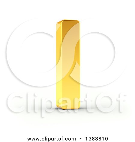 Clipart of a 3d Golden Capital Letter I, on a Shaded White Background, With Clipping Path - Royalty Free Illustration by stockillustrations