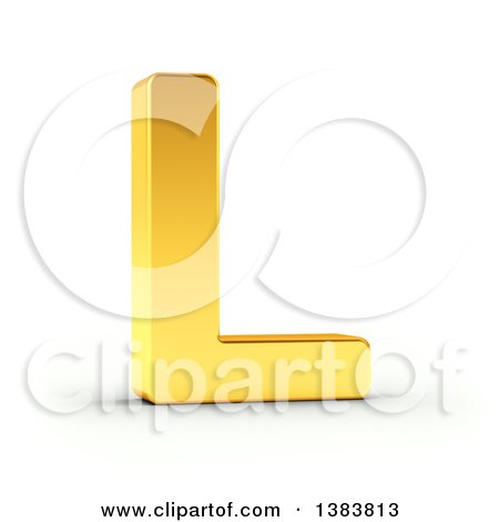 Clipart of a 3d Golden Capital Letter L, on a Shaded White Background, With Clipping Path - Royalty Free Illustration by stockillustrations