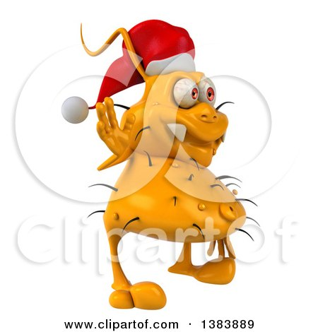 Clipart of a 3d Yellow Christmas Germ Virus, on a White Background - Royalty Free Illustration by Julos