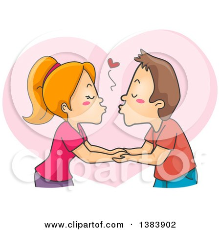 Cartoon Red Haired White Woman and Brunette Man Kissing and Holding Hands over a Heart Posters, Art Prints