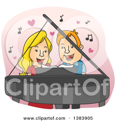 Clipart of a Cartoon Blond White Woman and Red Haired Man Singing a Duet and Playing a Piano - Royalty Free Vector Illustration by BNP Design Studio