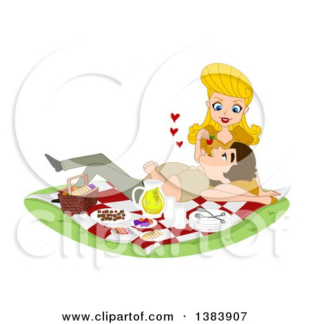 Clipart of a Blond White Woman Feeding Her Man a Strawberry As He Rests in Her Lap on a Picnic - Royalty Free Vector Illustration by BNP Design Studio
