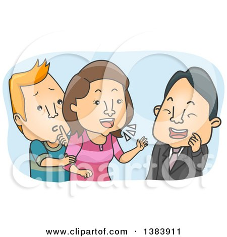 Clipart of a Cartoon White Man Trying to Stop His Wife from Compulsive Chatting - Royalty Free Vector Illustration by BNP Design Studio