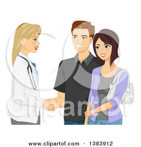 Blond White Female Doctor Shaking Hands with a Man and His Wife Posters, Art Prints