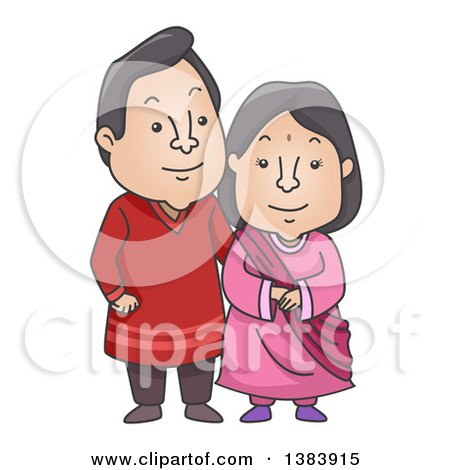 Clipart of a Cartoon Happy Indian Couple Wearing a Traditional Kurta and Sareeh - Royalty Free Vector Illustration by BNP Design Studio