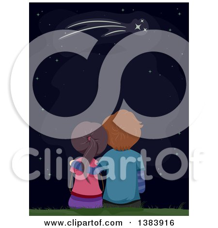 Clipart of a Rear View of a White Teenage Couple Gazing up at a Shooting Star - Royalty Free Vector Illustration by BNP Design Studio
