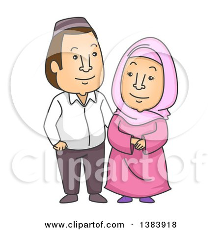 Clipart of a Cartoon Happy Muslim Couple in a Taqiyah and Hijab - Royalty Free Vector Illustration by BNP Design Studio