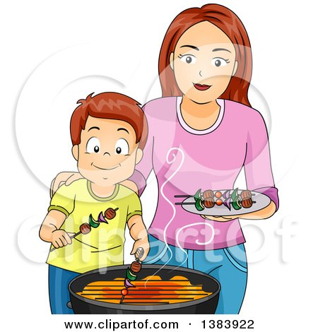 Clipart of a Happy Brunette White Mother and Son Making Kebabs on a Barbeque Grill - Royalty Free Vector Illustration by BNP Design Studio