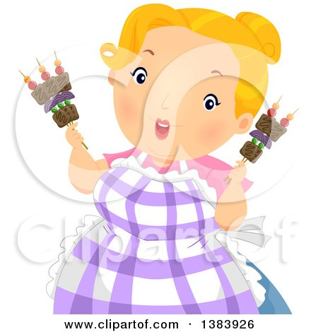 Clipart of a Chubby Blond White Woman Holding Shish Kebab Sticks with Beef and Veggies - Royalty Free Vector Illustration by BNP Design Studio