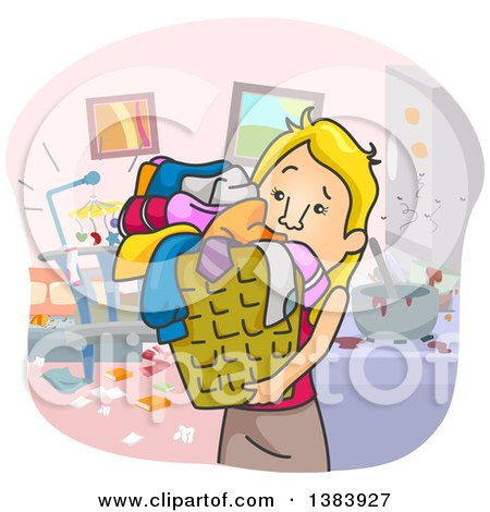 Clipart of a Cartoon Blond White Woman Cleaning up a Messy House - Royalty Free Vector Illustration by BNP Design Studio