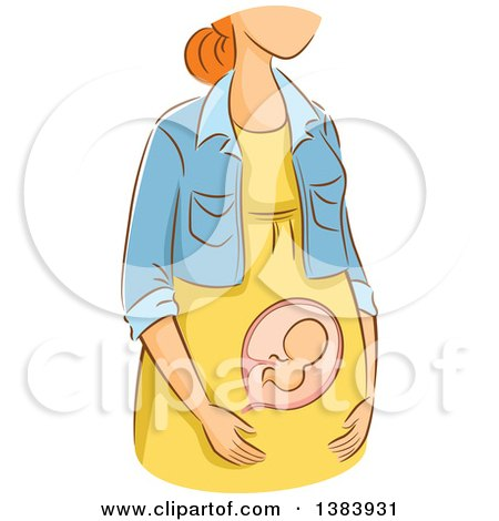 Clipart of a Sketched Red Haired White Woman in the First Trimester of Pregnancy - Royalty Free Vector Illustration by BNP Design Studio