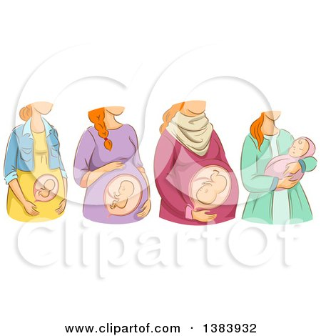 Clipart of a Sketched Red Haired White Woman Shown in the Different Stages of Pregnancy and After Birth - Royalty Free Vector Illustration by BNP Design Studio