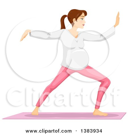 Clipart of a Pregnant Brunette White Woman Doing Tai Chi - Royalty Free Vector Illustration by BNP Design Studio