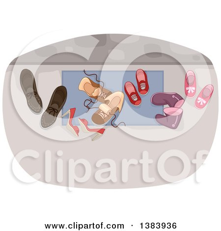 Clipart of a Door Mat with Family Shoes - Royalty Free Vector Illustration by BNP Design Studio
