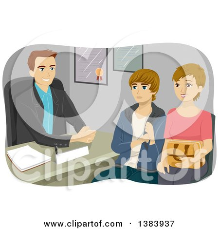 Clipart of a White Male Guidance Counselor Speaking with Am Other and Her Teenage Son - Royalty Free Vector Illustration by BNP Design Studio