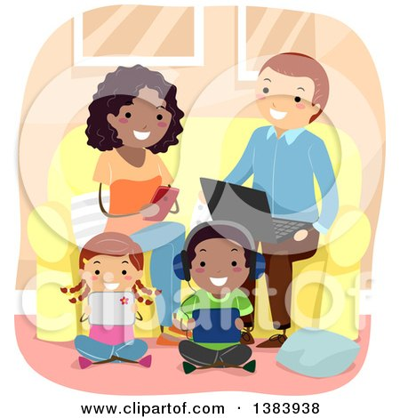 Clipart of a Happy Interracial Family Using Their Smart Phones, Laptops and Tablets in a Living Room - Royalty Free Vector Illustration by BNP Design Studio