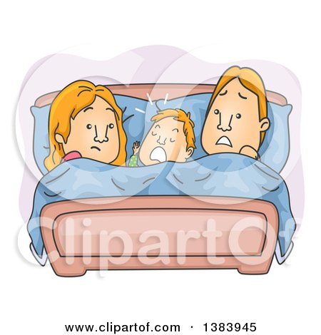 Clipart of a Cartoon Frustrated Red Haired Couple with Their Son Between Them in Bed - Royalty Free Vector Illustration by BNP Design Studio