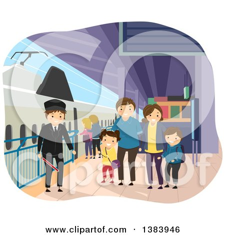 Clipart of a Happy Caucasian Family at a Train Station - Royalty Free Vector Illustration by BNP Design Studio